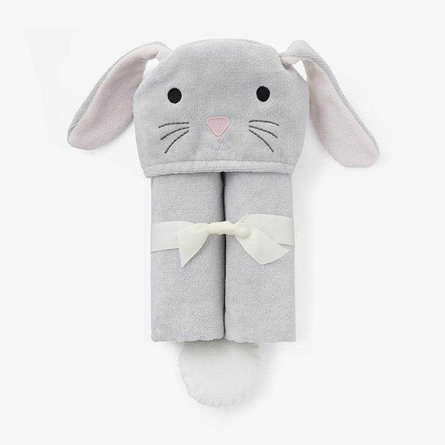Gray Bunny Hooded Baby Bath Wrap-Elegant Baby-Joanna's Cuties