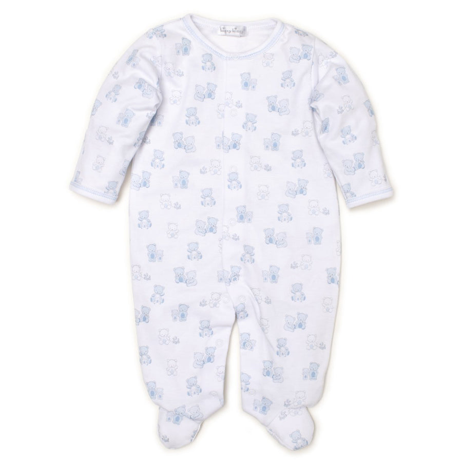 Bear-y Cute Blue Print Footie, Kissy Kissy - Joanna's Cuties