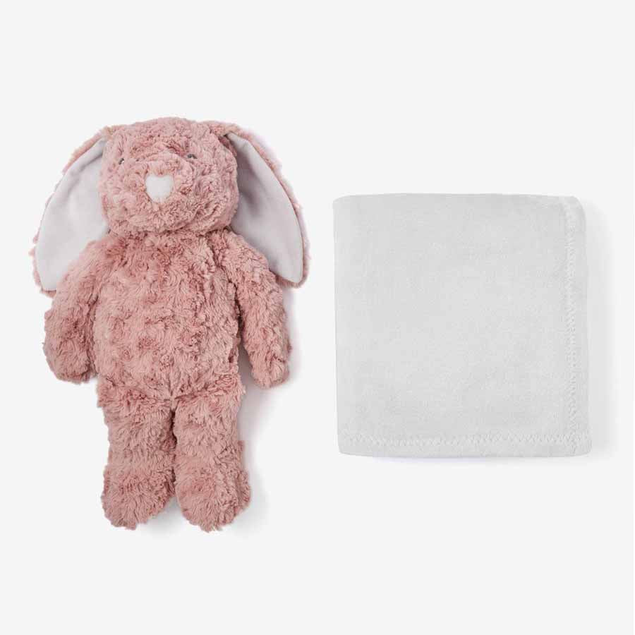 Mauve Swirl Bunny Bedtime Huggie Plush Toy With Blanket-Elegant Baby-Joanna's Cuties