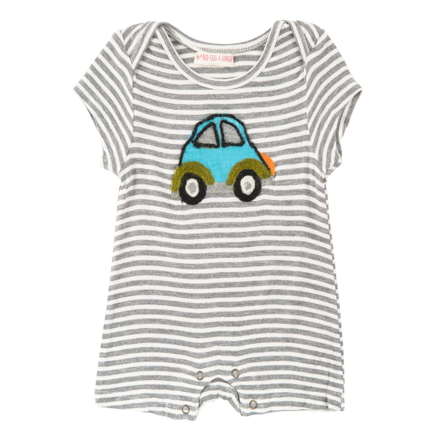 Beetle Car Stripe Romper - Red Egg & Ginger - joannas-cuties