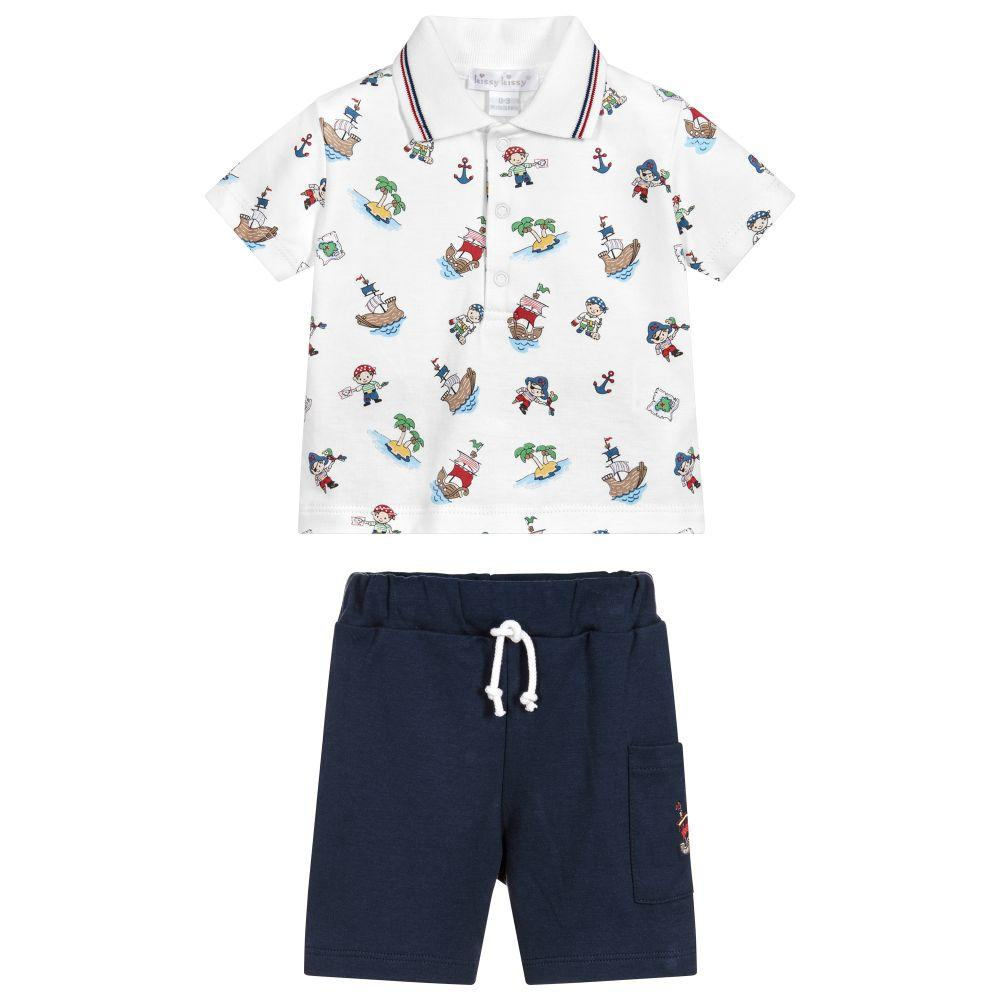 Bermuda Pima Cotton Shorts Set - Kissy Kissy - joannas-cuties