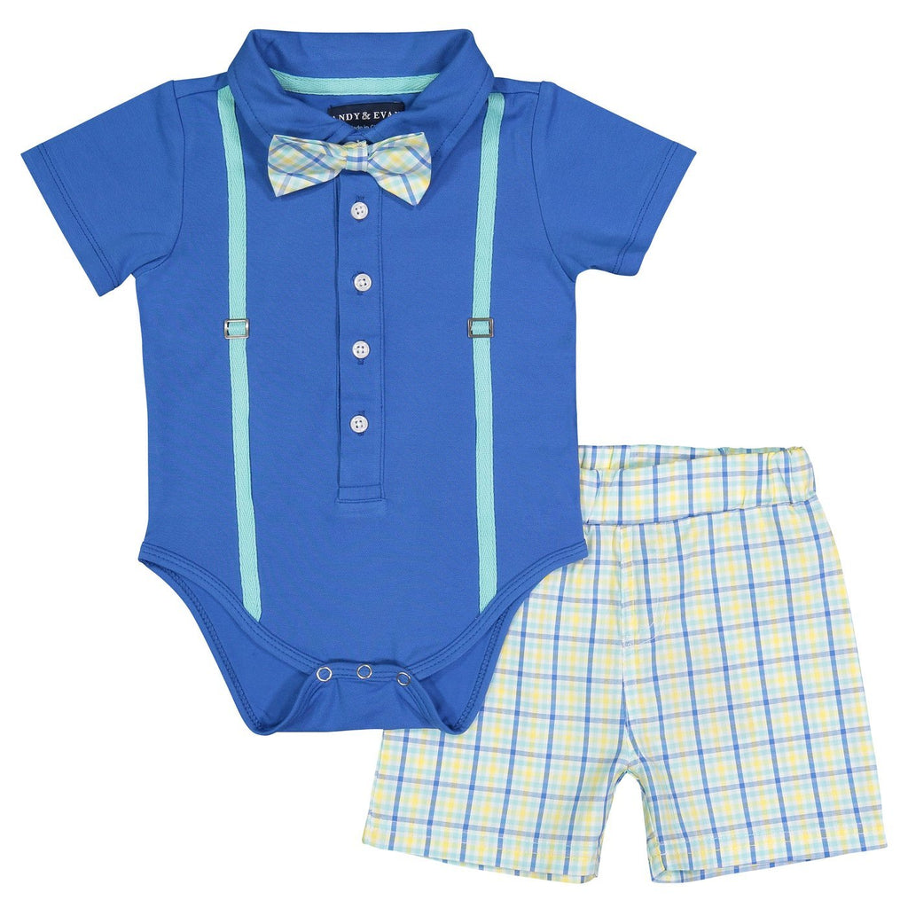 Blue and Easter Check Polo Onesie Set - Andy & Evan - joannas-cuties