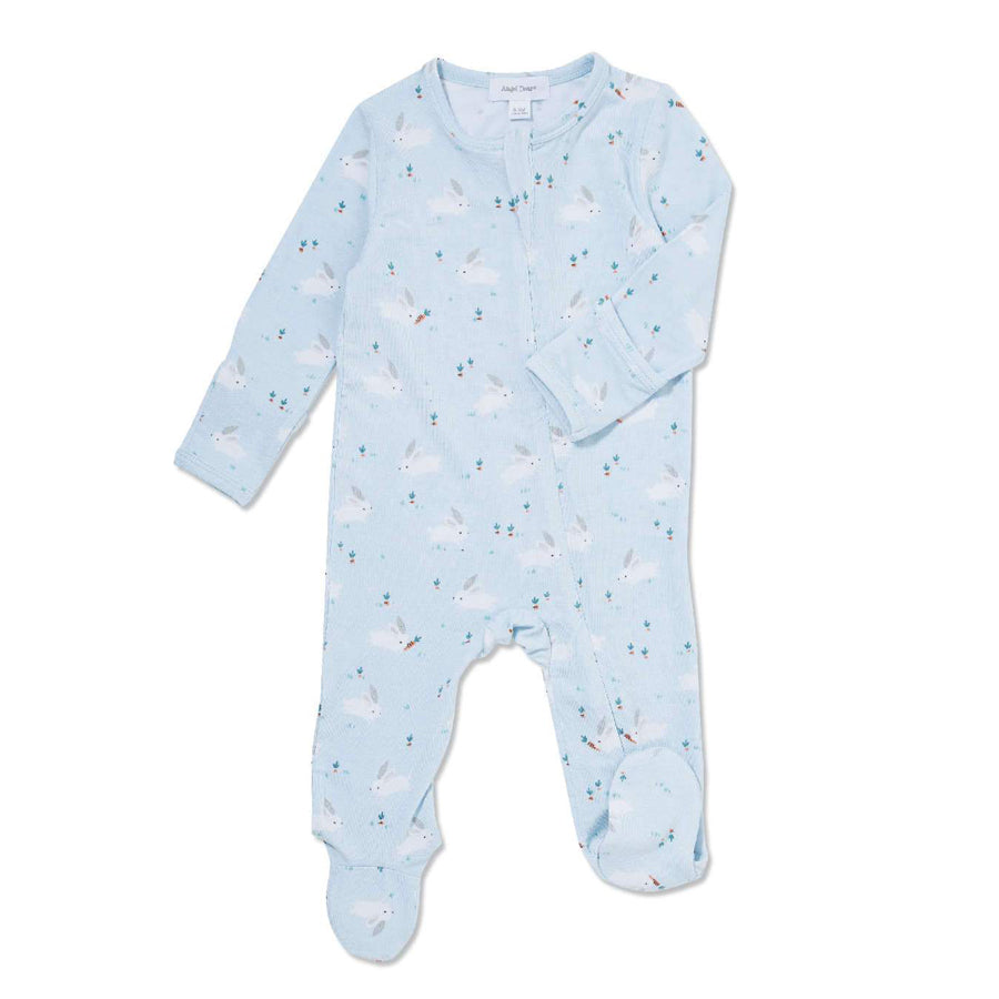 Baby Bunnies Blue Bamboo Zipper Footie-Angel Dear-Joanna's Cuties