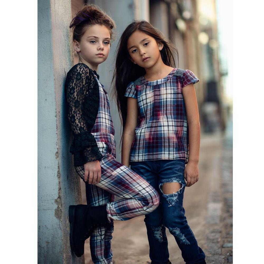 Blue Jean Baby Overalls in Washed Plaid-Jak & Peppar-joannas_cuties
