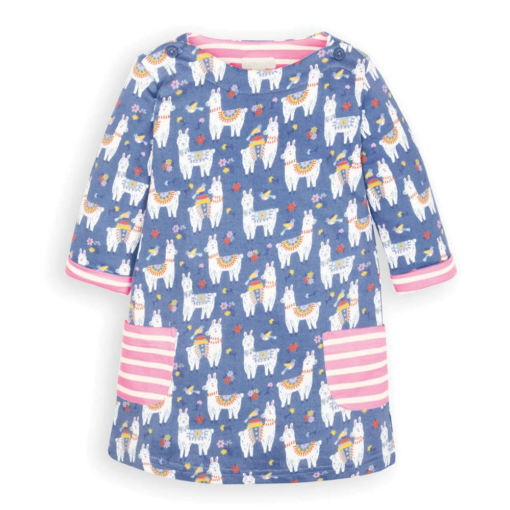 Blue Llama A-Line Dress - JoJo Maman Bebe - joannas-cuties