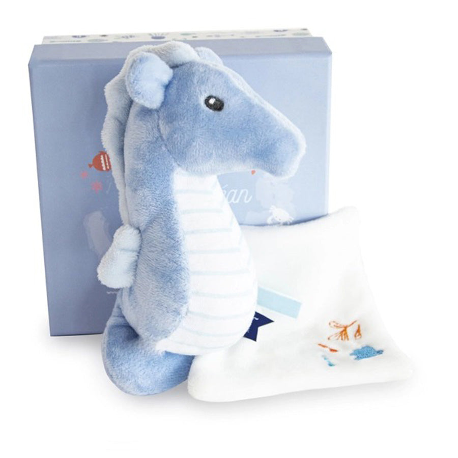 Under the Sea: Seahorse Plush With Blanket, Blue-Doudou Et Compagnie-Joanna's Cuties