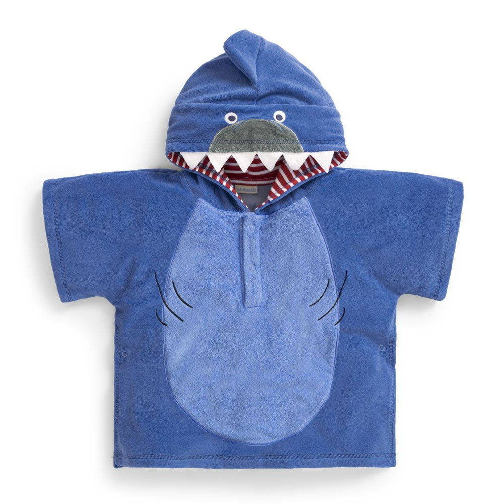 Blue Shark Hooded Toweling Poncho-JoJo Maman Bebe-Joanna's Cuties