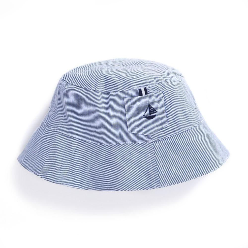 Boys' Blue Ticking Stripe Sun Hat - JoJo Maman Bebe - joannas-cuties