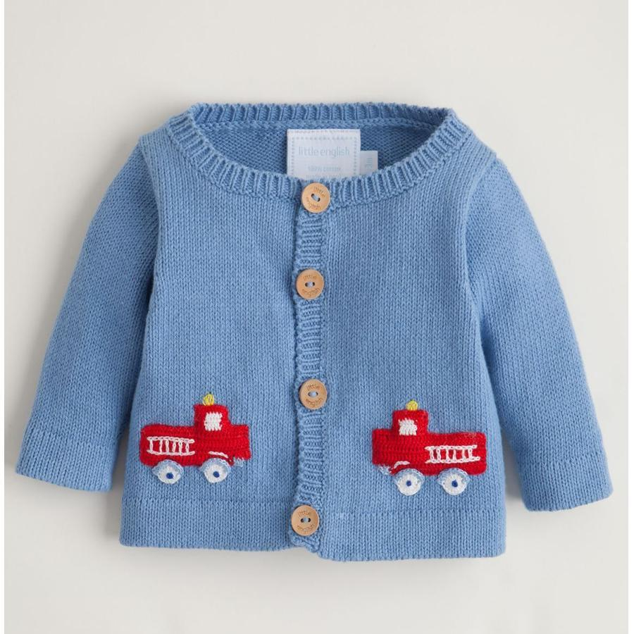 Boys Crochet Sweater - Fire Truck - Little English - joannas-cuties