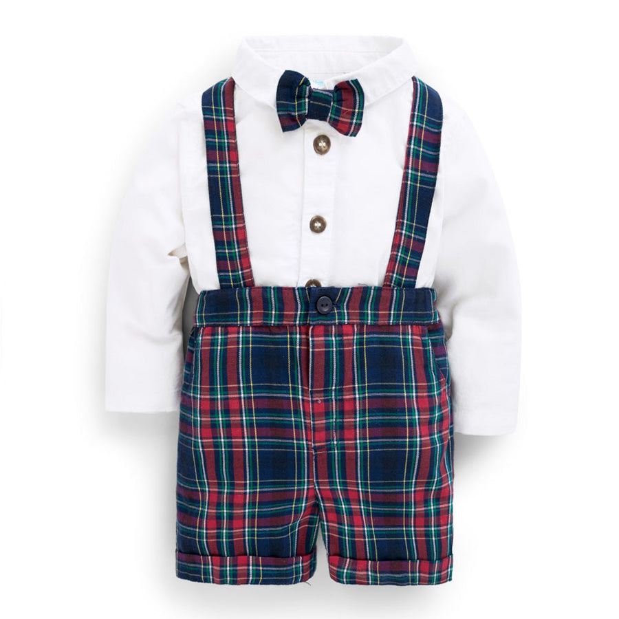 Boys' Plaid 3-Piece Shorts Set - JoJo Maman Bebe - joannas-cuties