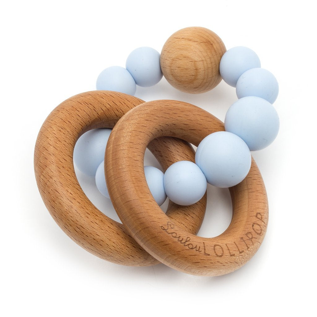 Bubble Silicone And Wood Teether - Baby Blue-LouLou Lollipop-joannas_cuties