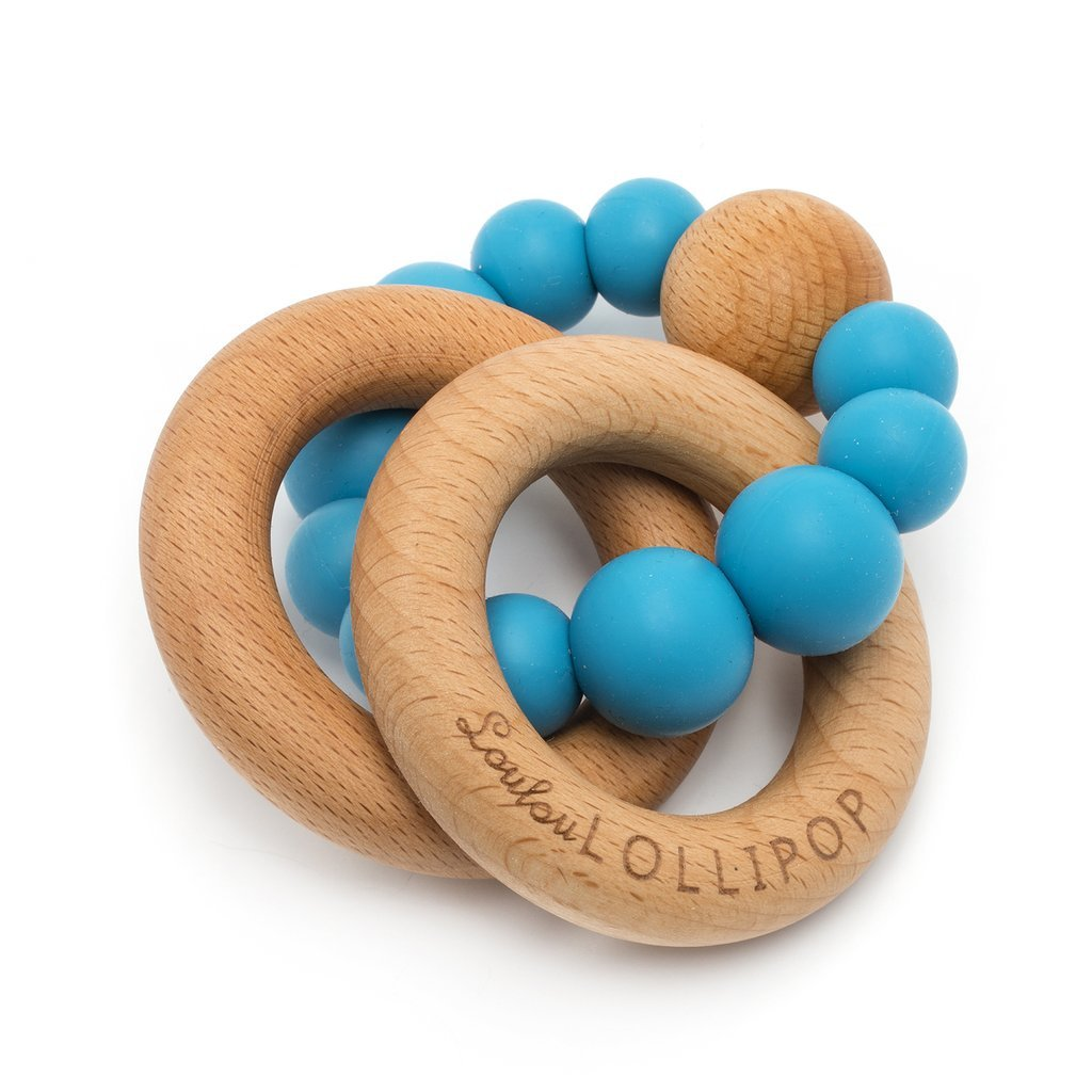 Bubble Silicone And Wood Teether - Cerulean Blue - LouLou Lollipop - joannas-cuties