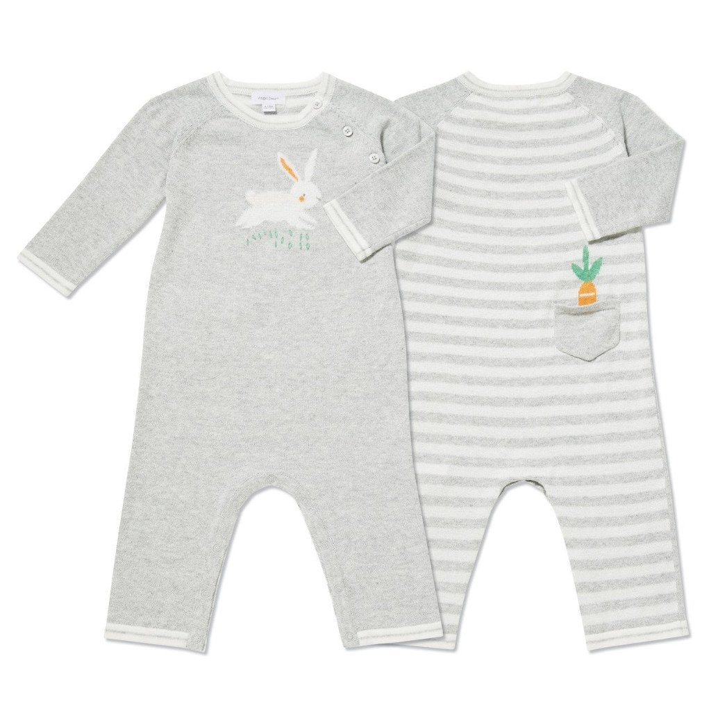 Bunny Intarsia Knits Grey Coverall - Angel Dear - joannas-cuties