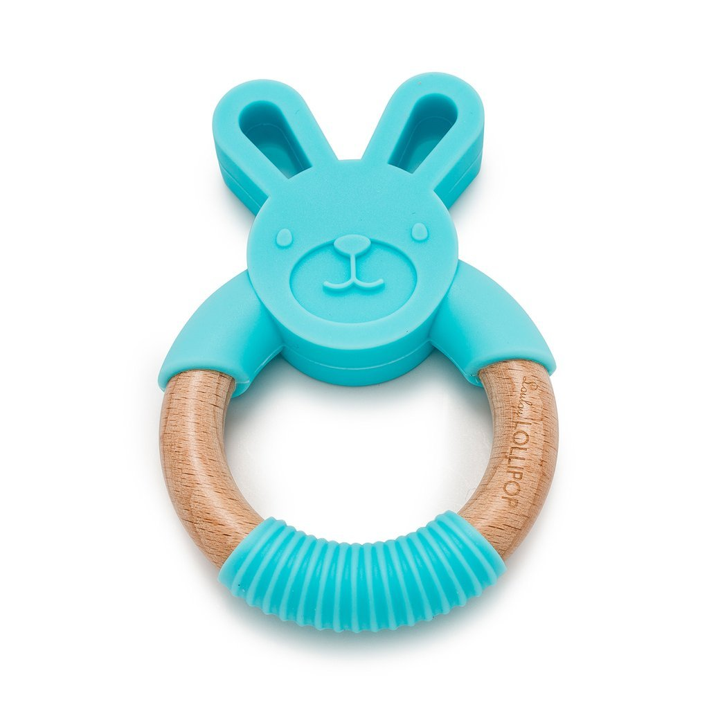 Bunny Silicone And Wood Teether - Aqua - LouLou Lollipop - joannas-cuties