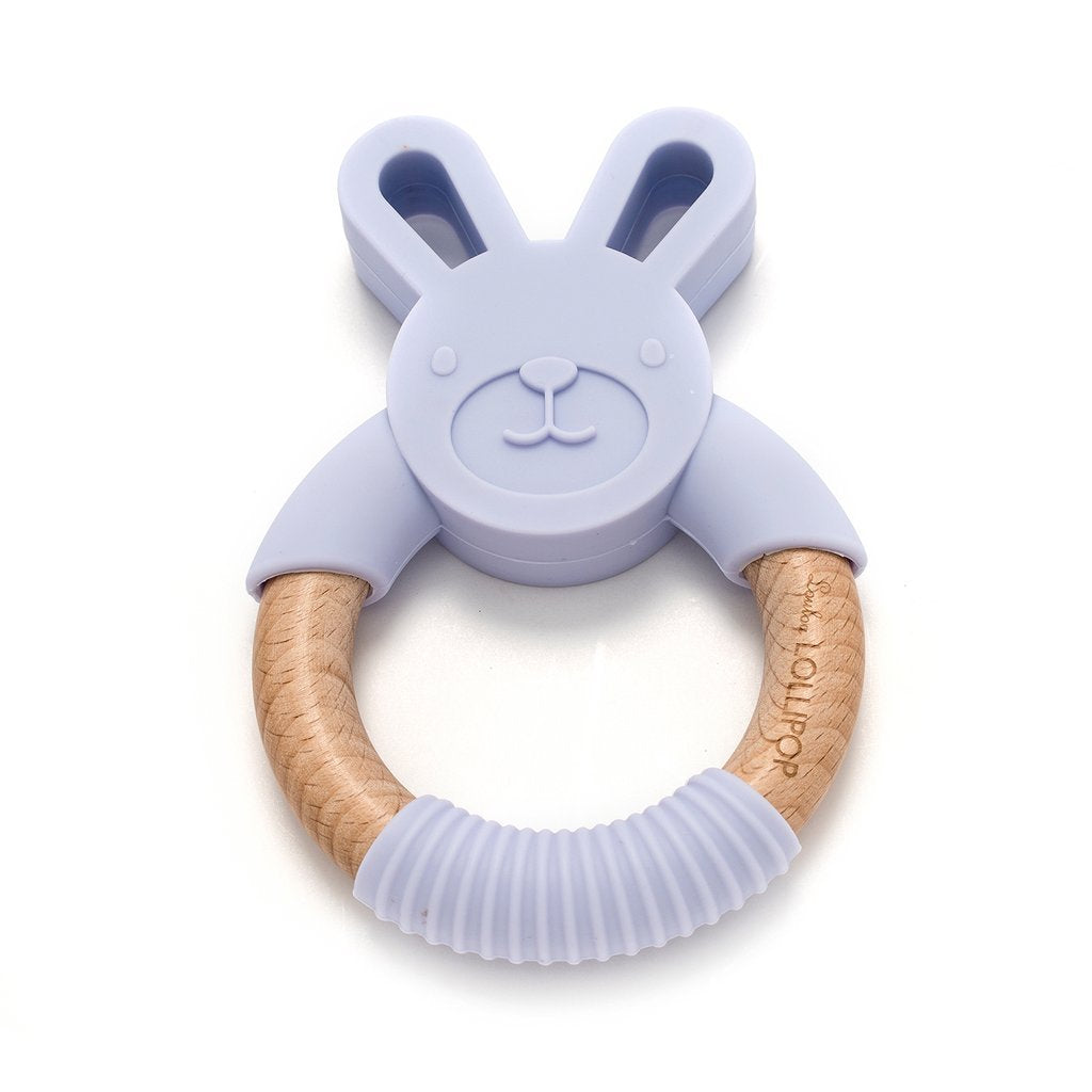 Bunny Silicone And Wood Teether - Lilac - LouLou Lollipop - joannas-cuties