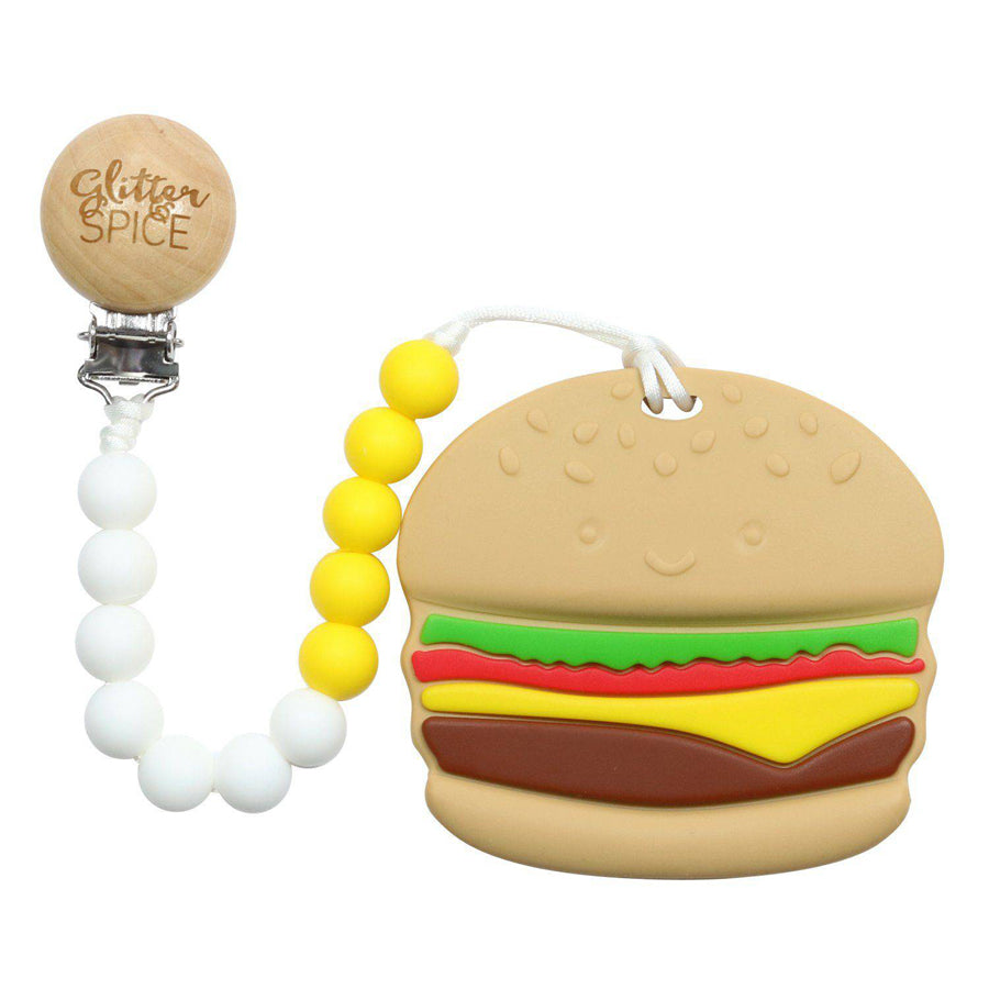 Burger Silicone Teether-Glitter & Spice-Joanna's Cuties