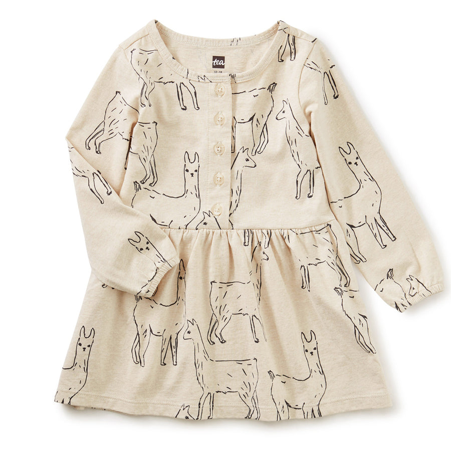 Button Front Baby Dress - Llama Love