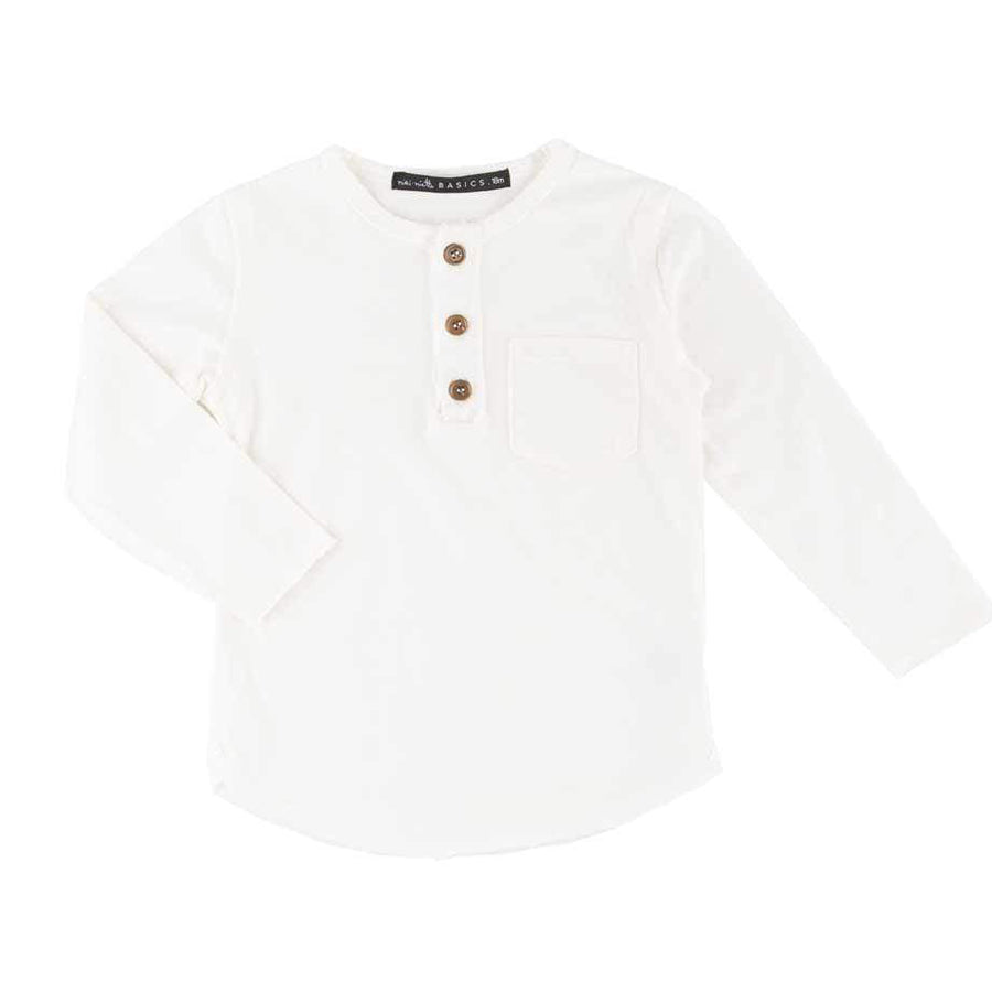 Buzz Long Sleeve Henley White-Miki Miette-Joanna's Cuties
