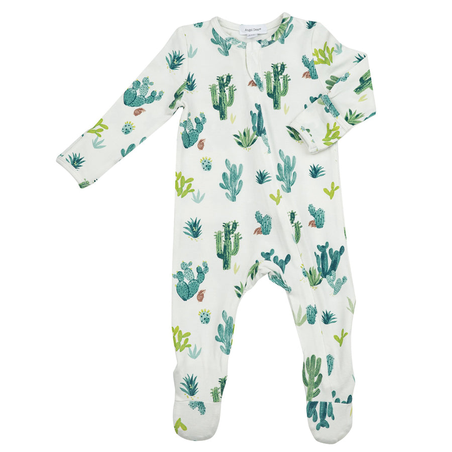 Cactus Zipper Footie - Ivory-Angel Dear-Joanna's Cuties