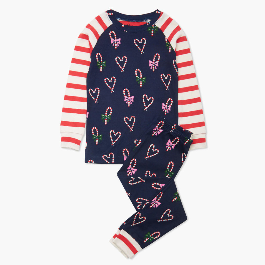 Candy Cane Hearts Organic Cotton Raglan Pajama Set-Hatley-Joanna's Cuties