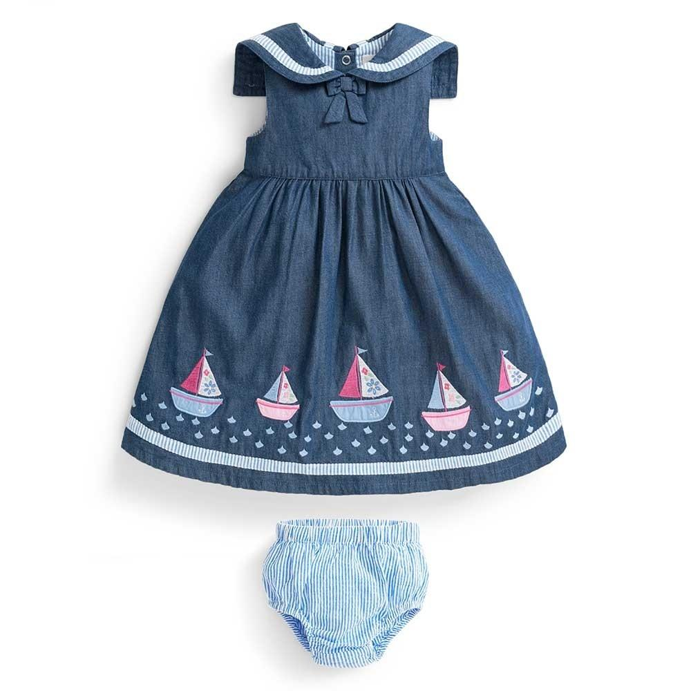 Chambray Sailboat Baby Dress with Bloomers - JoJo Maman Bebe - joannas-cuties