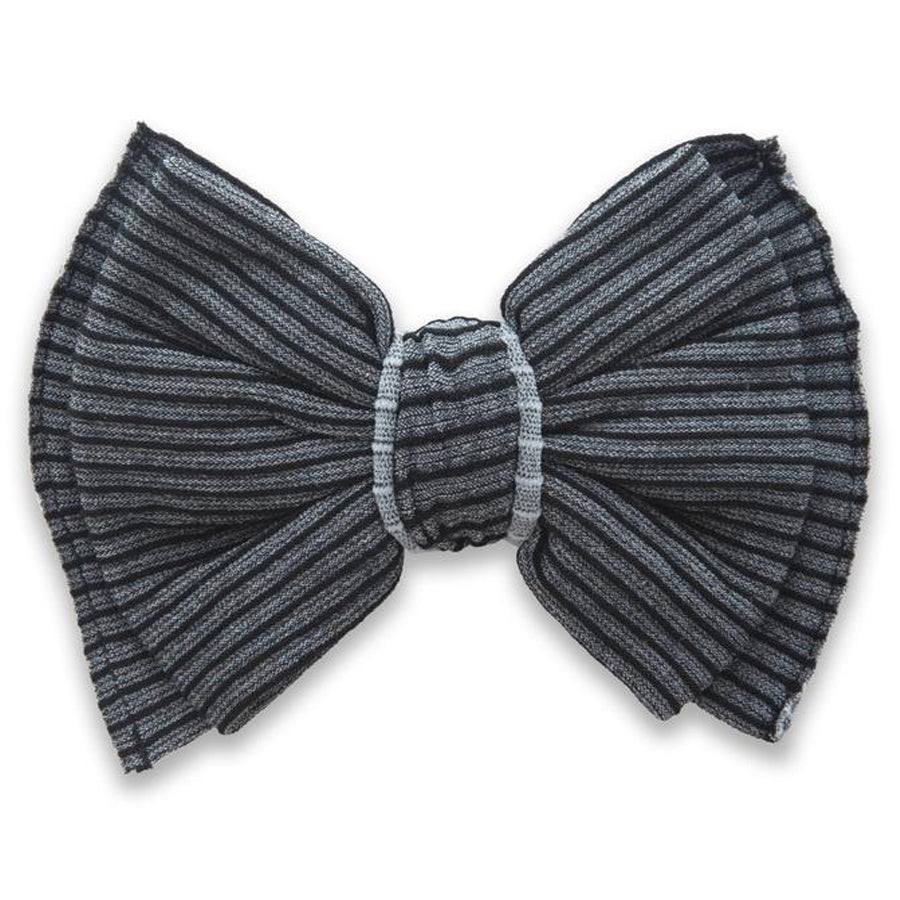 Ribbed Bow Clip - Charcoal