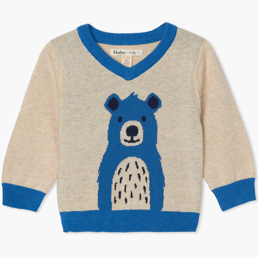 Cheerful Bear V-Neck Baby Sweater-Hatley-Joanna's Cuties