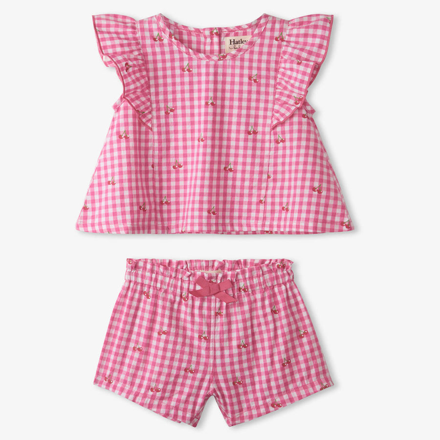 Cherry Bomb Baby Flutter Sleeve Top Set