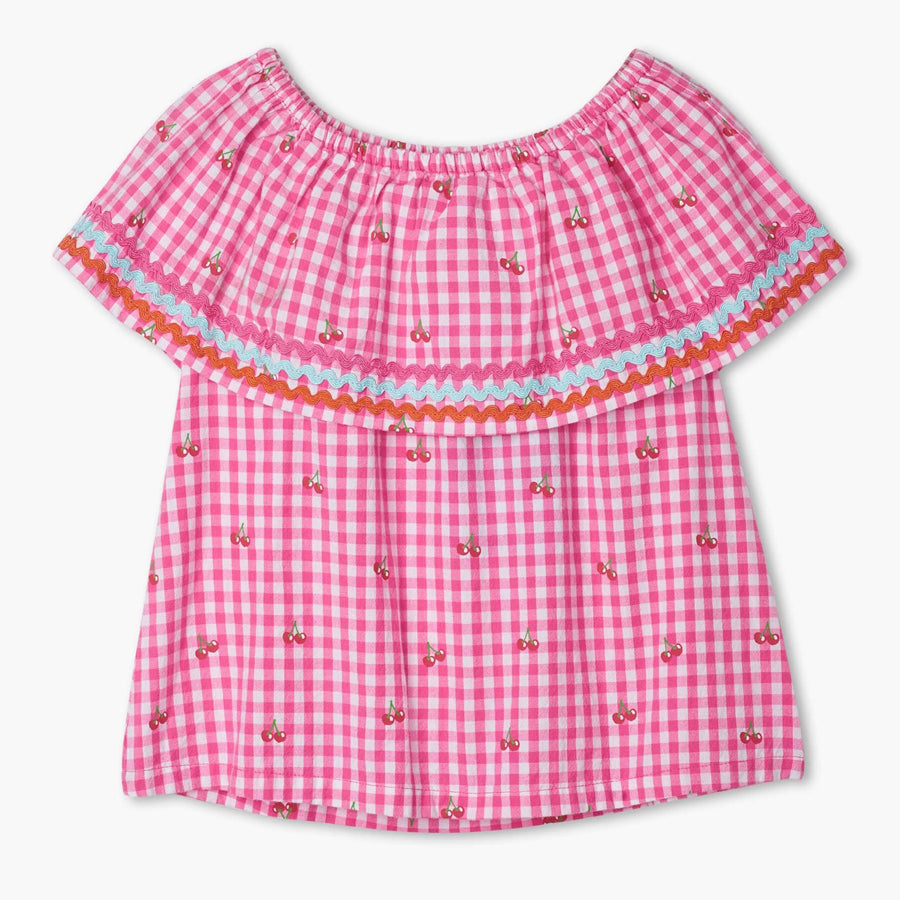 Cherry Bomb Shoulder Flounce Top-Hatley-Joanna's Cuties