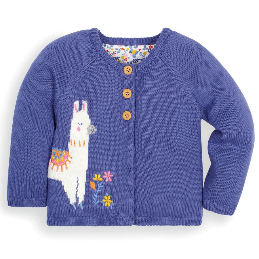 China Blue Llama Cardigan - JoJo Maman Bebe - joannas-cuties