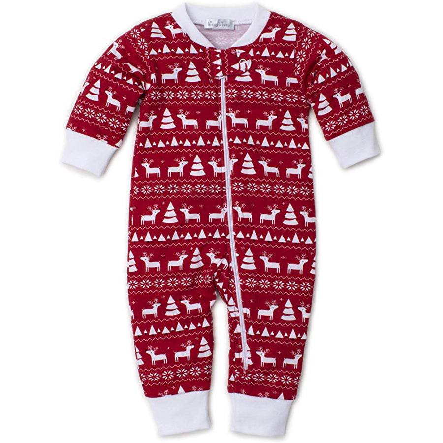 Christmas Deer - Print Pajamas W/Zip - Snug Fit - Kissy Kissy - joannas-cuties