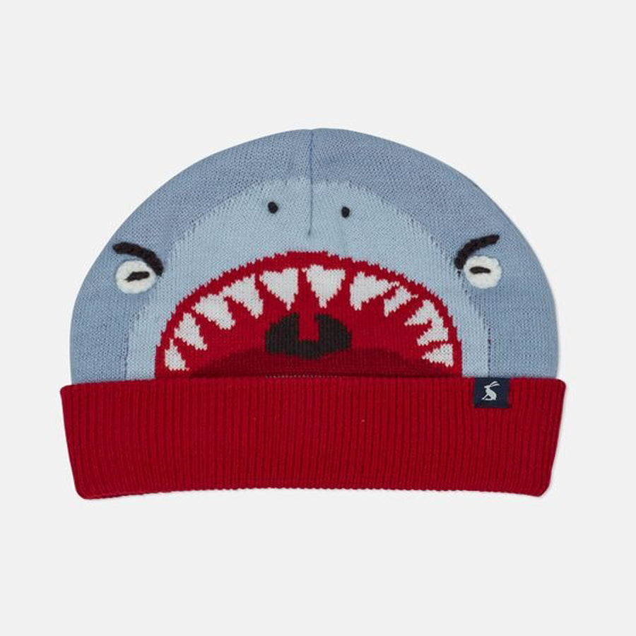 Chummy Knitted Character Hat - Shark - Joules - joannas-cuties