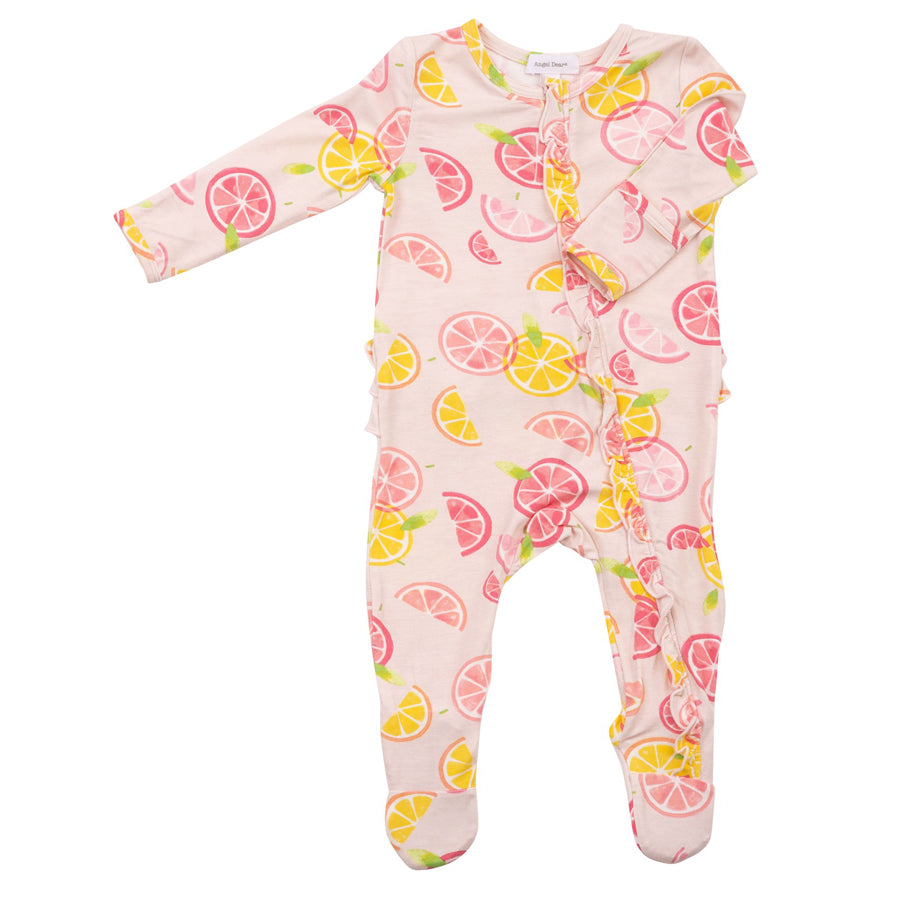 Citrus Ruffle Zipper Footie-Angel Dear-Joanna's Cuties