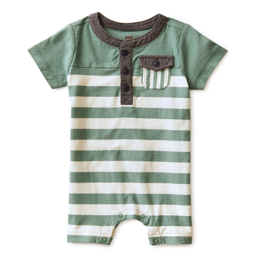 Colorblock Henley Romper-Tea-Joanna's Cuties