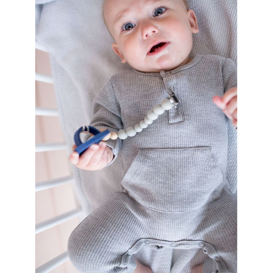 Colour Block Silicone & Wood Pacifier Clip - Cool Gray - LouLou Lollipop - joannas-cuties