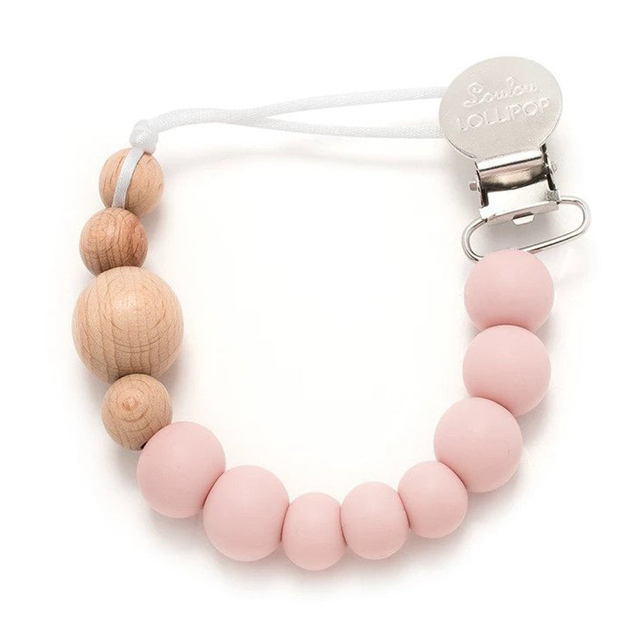 Colour Block Silicone & Wood Pacifier Clip - Pink Quartz-LouLou Lollipop-joannas_cuties
