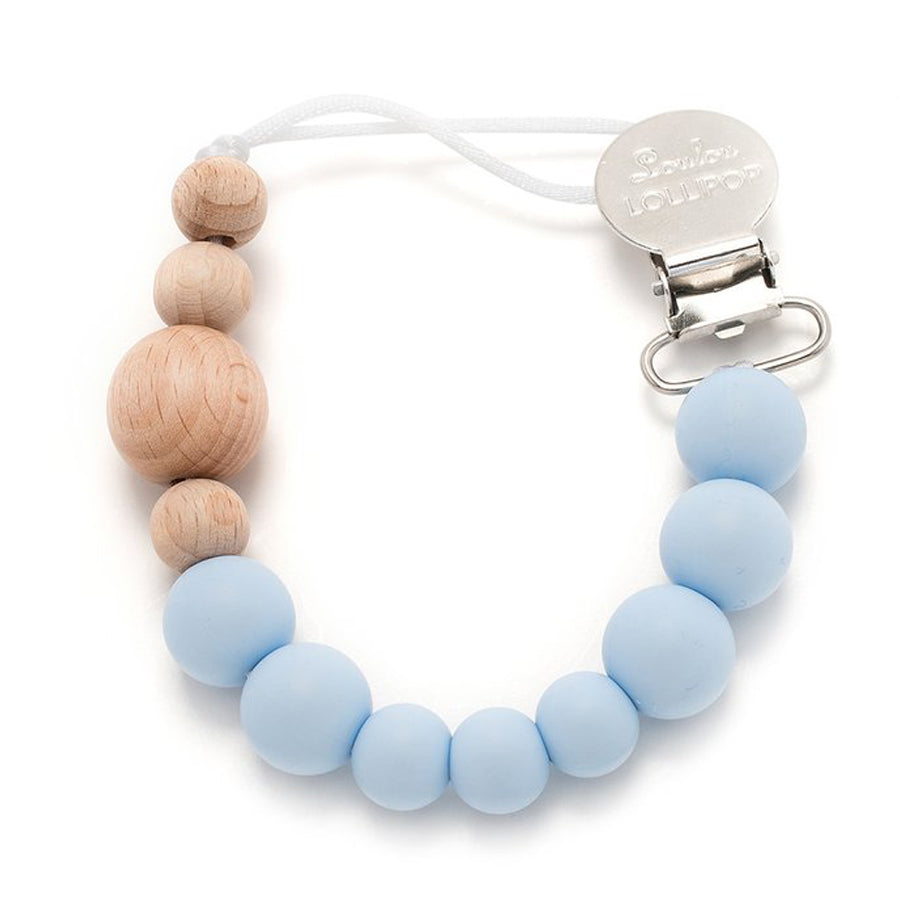 Colour Block Silicone & Wood Pacifier Clip - Baby Blue-LouLou Lollipop-joannas_cuties