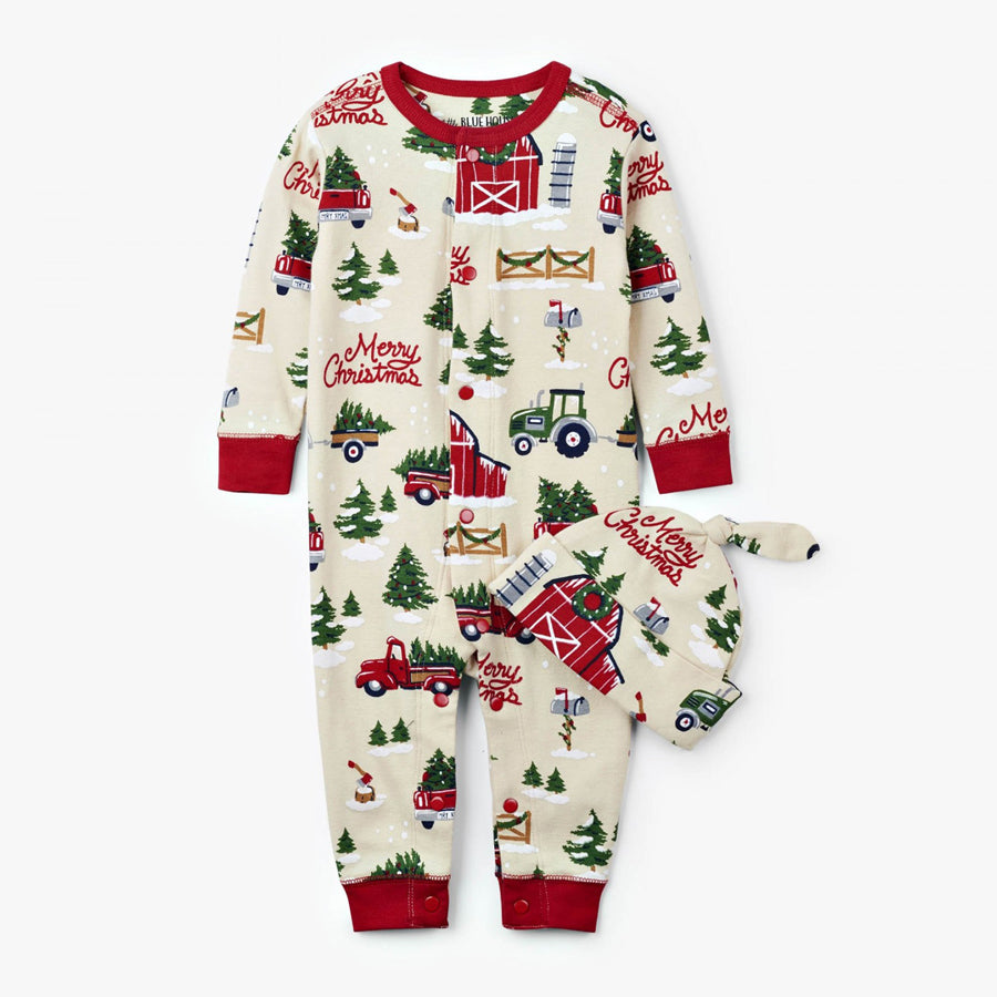 Country Christmas Baby Coverall with Hat - Little Blue House - joannas-cuties