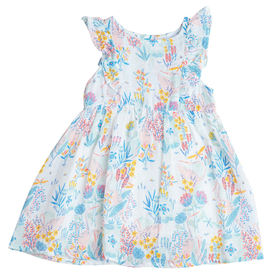 Crane Muslin Ruffle Dress-Angel Dear-Joanna's Cuties