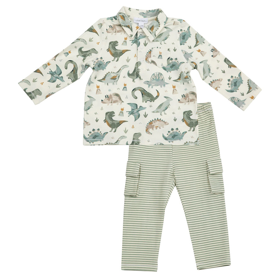 Crayon Dinosaur Polo And Cargo Pant Set-Angel Dear-Joanna's Cuties