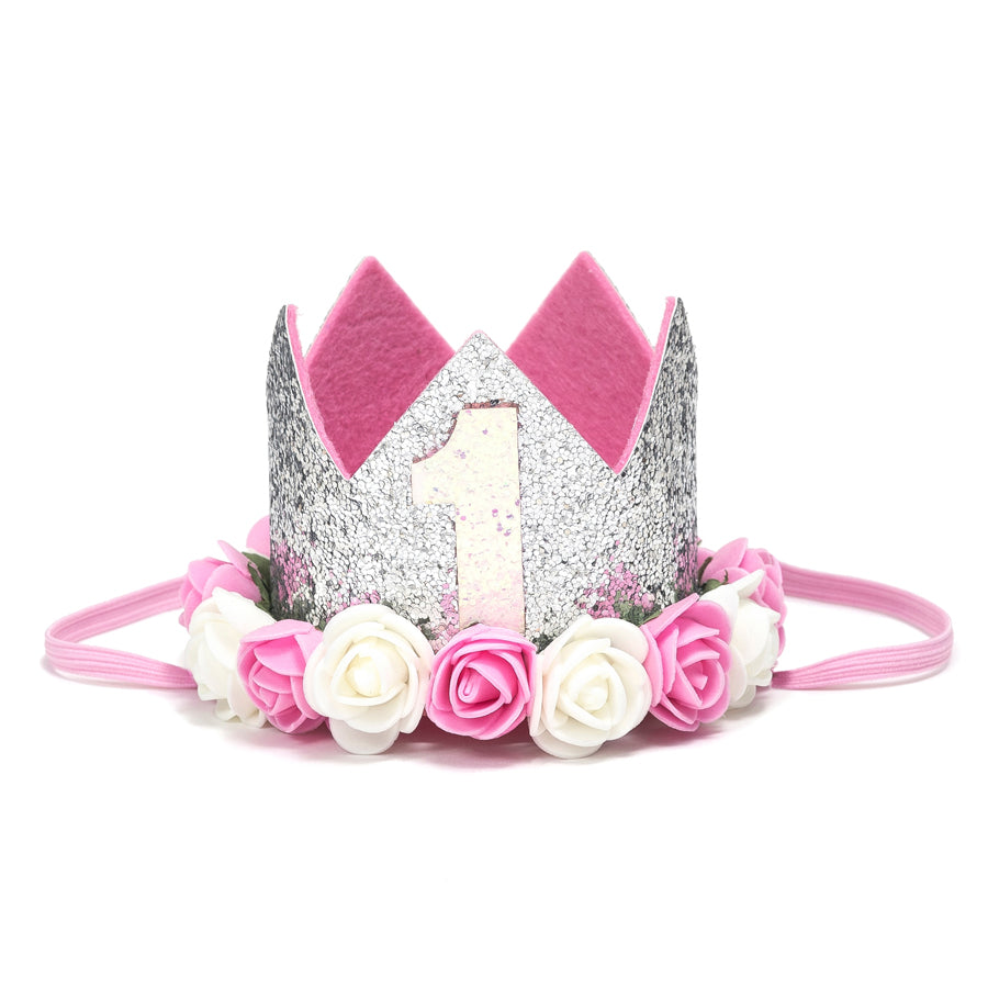 First Birthday Crown - Silver with Flowers-Sweet Wink-Joanna's Cuties