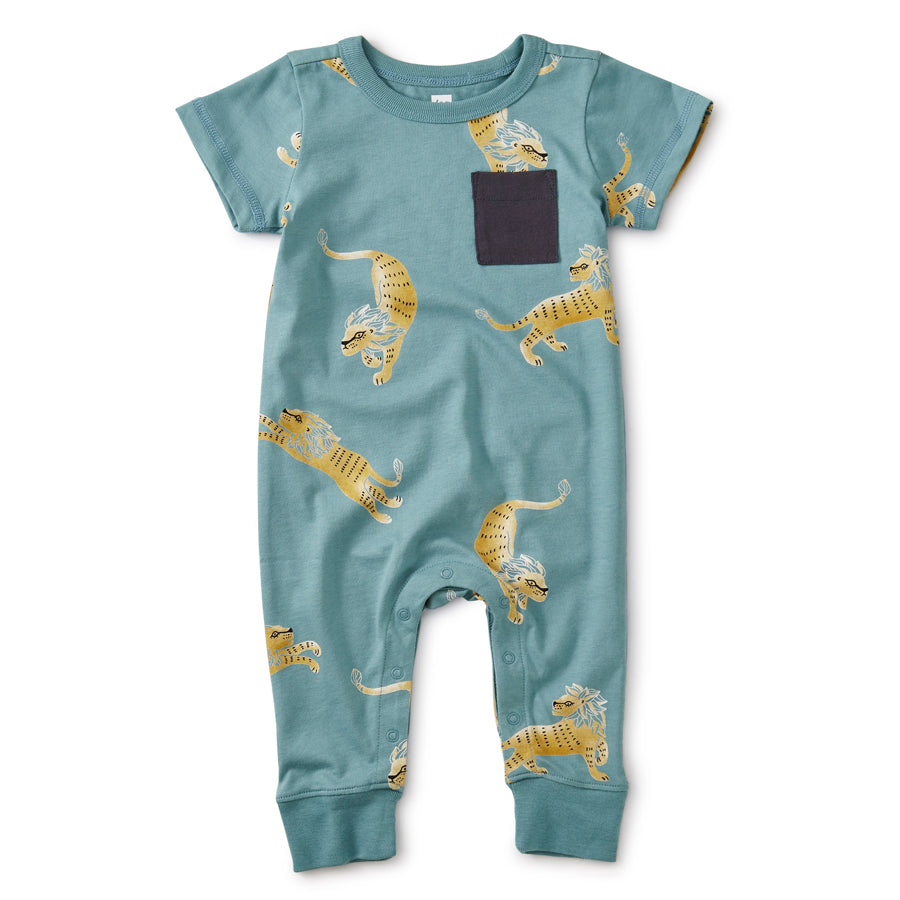 Cuffed Pocket Romper - Barbary Lion-Tea-Joanna's Cuties