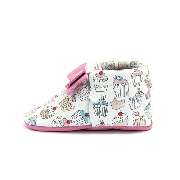 Cupcakes Bow Moccasins - Freshly Picked - joannas-cuties