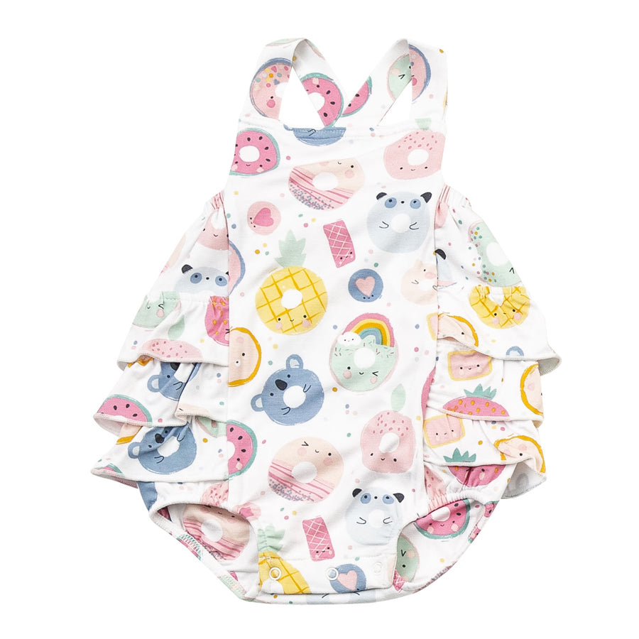 Donut Smiles Ruffle Sunsuit-Angel Dear-Joanna's Cuties