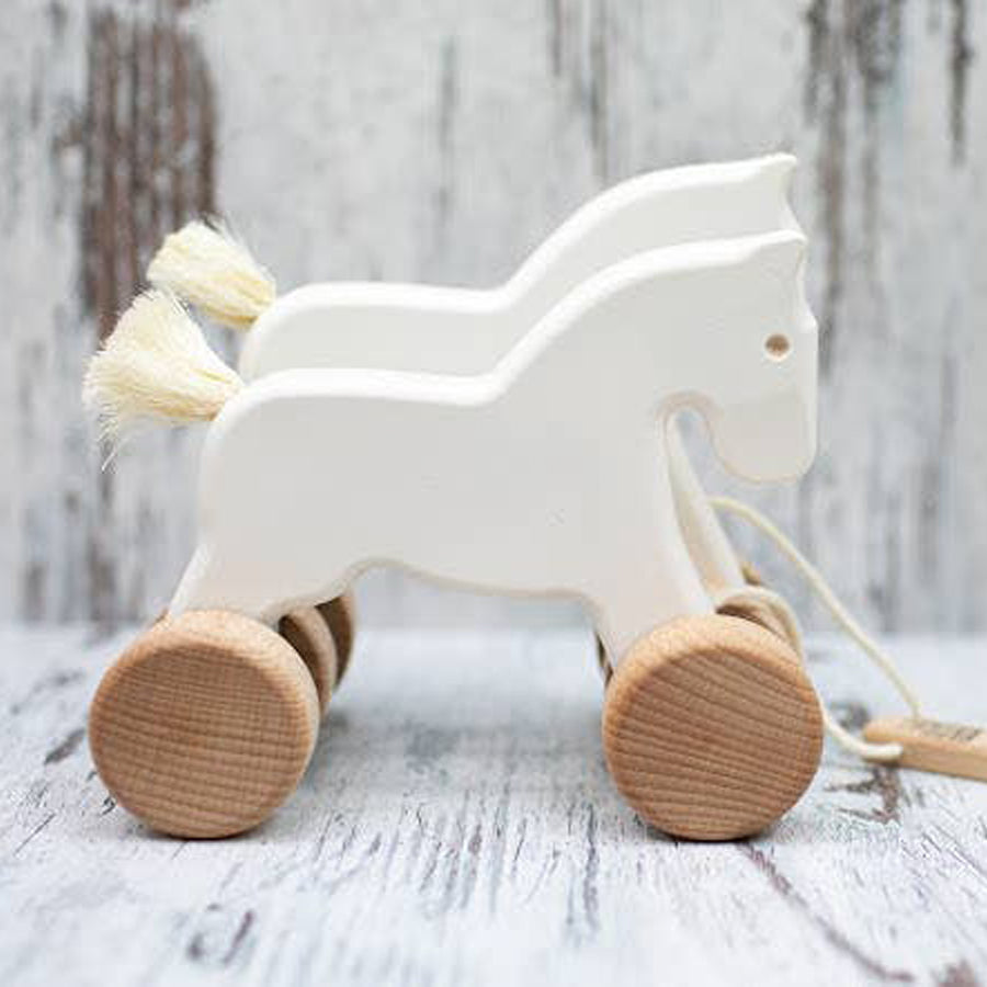 Double Horses Pull Toy - White-Bajo-Joanna's Cuties