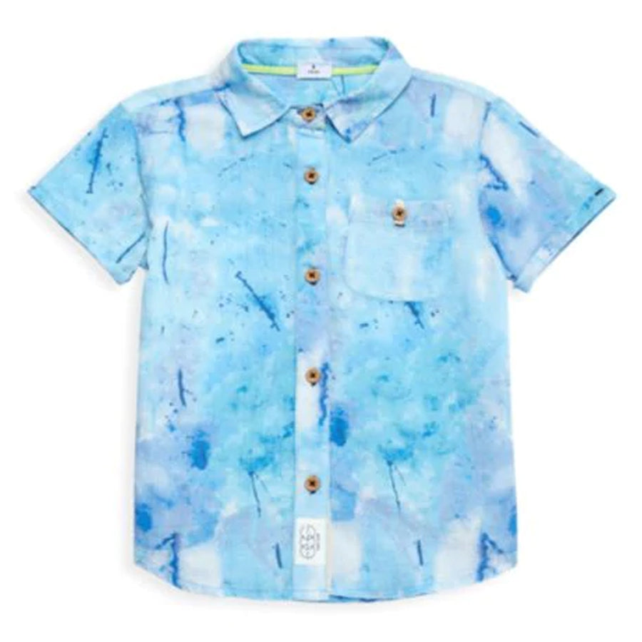 Adrian Shirt - Blue Splatter-EGG by Susan Lazar-Joanna's Cuties
