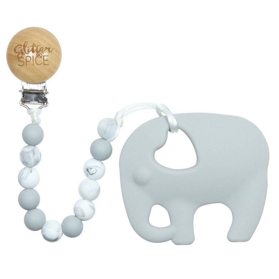 Elephant Silicone Teether With Clip-Glitter & Spice-Joanna's Cuties