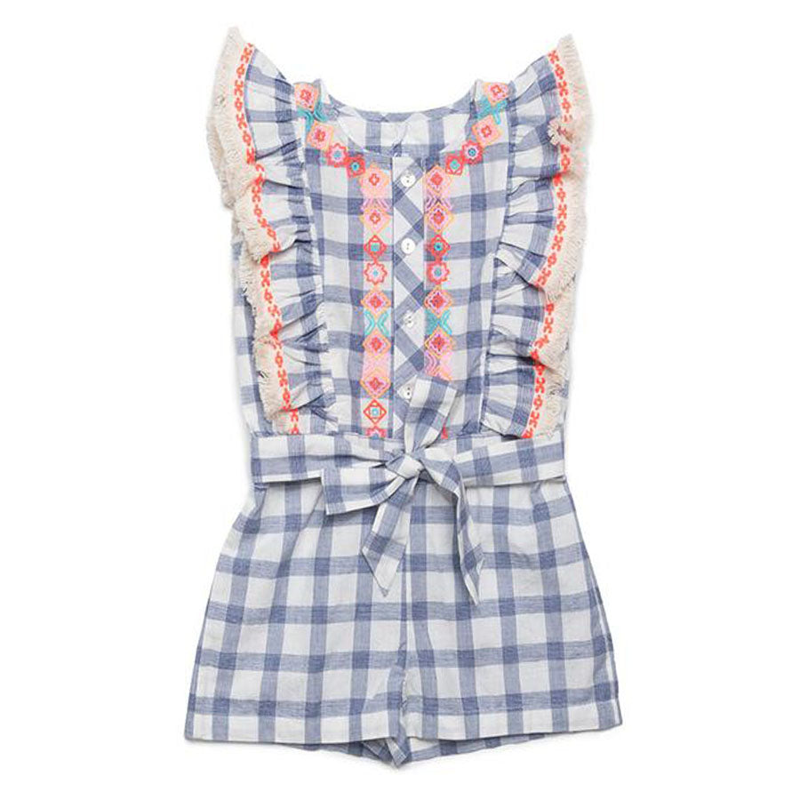 Embroidered Check Matilda Romper-EGG by Susan Lazar-Joanna's Cuties