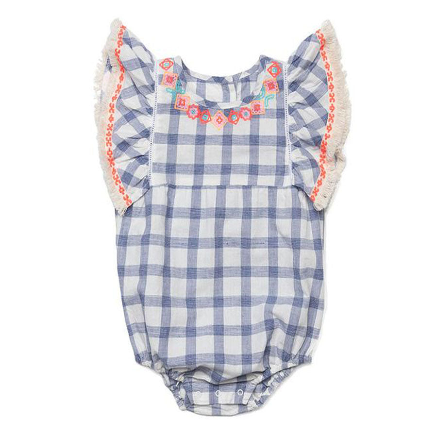 Embroidered Check Remy Romper-EGG by Susan Lazar-Joanna's Cuties