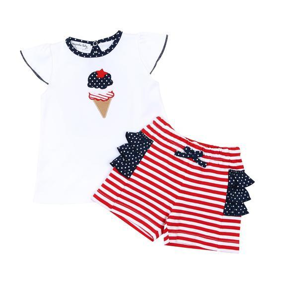 4th Of July Ice Cream Applique Red Ruffle Short Set-Magnolia Baby-Joanna's Cuties